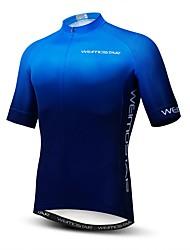 cheap -21Grams Men's Short Sleeve Cycling Jersey Black Grey Black / Blue Gradient Bike Jersey Top Mountain Bike MTB Road Bike Cycling Breathable Moisture Wicking Quick Dry Sports Polyester Elastane Terylene
