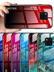 Недорогие -Кейс для Назначение Huawei Huawei Mate 20 pro / Huawei Mate 20 / Huawei Mate 20X С узором Кейс на заднюю панель Мрамор / Градиент цвета Твердый Закаленное стекло