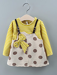 cheap -Baby Girls' Basic Polka Dot / Striped Print Long Sleeve Knee-length Dress Wine