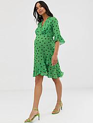 cheap -Women's Street chic Sophisticated Sheath Swing Dress - Polka Dot Ruffle Print Wrap Rainbow L XL XXL