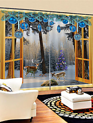 Недорогие -3d цифровая печать рождество уединение две панели полиэфирные шторы для наружной гостиной водонепроницаемые пылезащитные декоративные высококачественные шторы