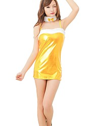 cheap -Women's Ruched Sexy Nightwear Cosplay Costumes Solid Colored Yellow One-Size / Strap