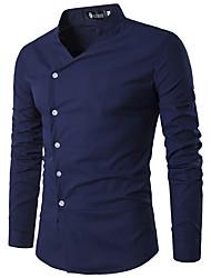 cheap -Men's Daily Punk & Gothic Shirt - Solid Colored Blue, Print Black