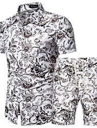 cheap -Men's Plus Size Set Geometric Graphic Print Tops Basic Boho Classic Collar Gray / Short Sleeve / Beach