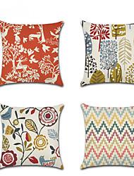 cheap -4 pcs Linen Pillow Cover, Damask Floral Fashion Modern Throw Pillow