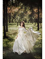 cheap -Ball Gown Off Shoulder Court Train Satin 3/4 Length Sleeve Sexy Made-To-Measure Wedding Dresses with Pearls 2020