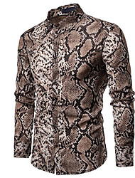 cheap -Men's Casual / Daily Festival Punk & Gothic / Chinoiserie Plus Size Cotton Shirt - Plaid / Snake Print Gray / Long Sleeve