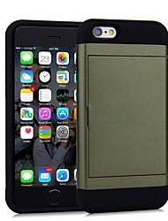 Недорогие -чехол для apple iphone 7 plus / iphone 6 держатель карты задняя крышка сплошной цветной жесткий ПК для iphone se / 5s / iphone 6 / iphone 6s
