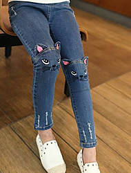 cheap -Girl Embroidered Kitten Cute Pattern Cat / Bunny Jeans Fashion Trousers