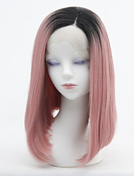 cheap -Synthetic Lace Front Wig Straight Lily Side Part Lace Front Wig Ombre Short Black / Pink Synthetic Hair 12-16 inch Women's Heat Resistant Women Color Gradient Ombre / Glueless