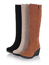 cheap -Women's Boots Knee High Boots Wedge Heel Round Toe Casual Daily Pom-pom Solid Colored Synthetics Knee High Boots Walking Shoes Winter Black / Yellow / Beige
