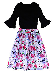 cheap -Girl Stylish Clothes Set Black T-shirt + Flower Shorts + Dovetail Skirt Gift Summer Wear 3PCS/Set