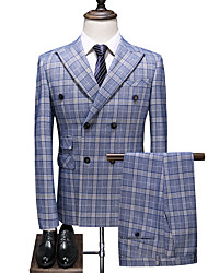 cheap -Sky Blue Checkered Slim Fit Polyester Suit - Peak Double Breasted Four-buttons