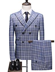 abordables -Bleu Ciel À carreaux Coupe Slim Polyester Costume - En Pointe Croisé 4 boutons / costumes