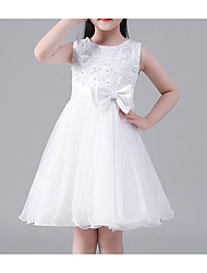 cheap -Princess Knee Length Flower Girl Dress - Cotton / Polyester / Tulle Sleeveless Jewel Neck with Appliques / Bow(s) / Sash / Ribbon by LAN TING Express