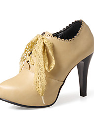 cheap -Women's Boots Cone Heel PU(Polyurethane) Fall / Spring & Summer Black / Almond