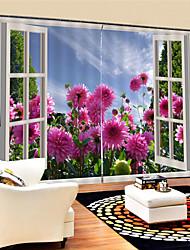 Недорогие -3d цифровая печать декорации уединение полиэстер две панели занавес для кабинета / офиса гостиная водонепроницаемый пыленепроницаемый декоративные шторы