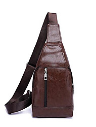 cheap -Men's Zipper Polyester / PU Sling Shoulder Bag Solid Color Black / Khaki / Brown / Fall & Winter