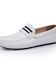 cheap -Men's Moccasin Leather / Patent Leather Spring & Summer Business Loafers & Slip-Ons Height-increasing Black / White / Outdoor