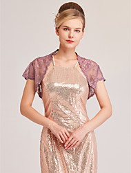 cheap -Short Sleeve Shrugs Lace Wedding / Party / Evening Women's Wrap With Stitching Lace / Lace