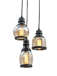 cheap -Chandeliers Glass Antique Pendant Light Fixtures Adjustable Ceiling Pendant Light Lamps 3 Lights Hanging Lighting Kitchen Island Overhead Lights Black