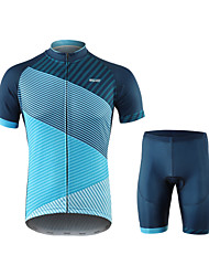 cheap -Arsuxeo Men's Short Sleeve Cycling Jersey with Shorts Blue Stripes Bike Quick Dry Sports Spandex Creative Mountain Bike MTB Road Bike Cycling Clothing Apparel / Micro-elastic / Triathlon