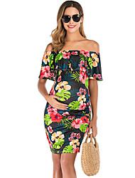 cheap -Women's Above Knee Maternity White Black Dress Sheath M L