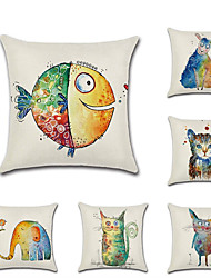 cheap -1 pcs Linen Pillow Cover, 3D Animal Classic Fashion Throw Pillow
