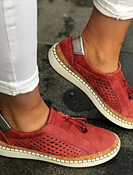 cheap -Women's Loafers & Slip-Ons Tassel Shoes Flat Heel Round Toe Casual Daily Walking Shoes Suede Tassel Solid Colored Black Red Blue