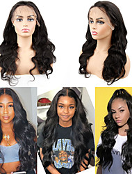 cheap -Human Hair Wig Medium Length Body Wave Side Part Party Women Best Quality 13x6 Closure Lace Front Brazilian Hair Women's Couple's Black#1B 8 inch 10 inch 12 inch