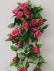 abordables -artificiel faux rose soie fleur feuille verte vigne guirlande lierre vigne suspendu guirlande maison décoration murale partie mariage mariage décoration bouquet maison décor 240cm rose clair