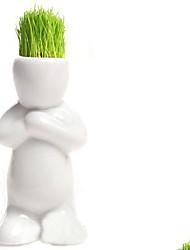 cheap -Mini Ceramic Porcelain Bonsai Grass Doll Hair Man Plant Desk Decoration White