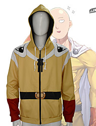 cheap -Inspired by One-Punch Man Cosplay Saitama Hoodie Poly / Cotton 3D Slim Zipper For Men's / Women's