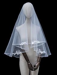 cheap -Two-tier Love / Sophisticated Wedding Veil Fingertip Veils with Appliques / Fringe / Trim Tulle / Drop Veil