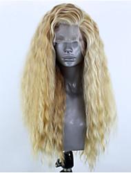 Недорогие -Синтетические кружевные передние парики Волнистый Стиль Боковая часть Лента спереди Парик Блондинка Блондинка Искусственные волосы 22-26 дюймовый Жен. Регулируется Жаропрочная Для вечеринок Блондинка