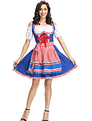 cheap -Oktoberfest Beer Dirndl Trachtenkleider Women's Blouse Dress Sleeves Bavarian Costume Blue Green / Apron / Apron