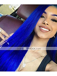 Недорогие -Натуральные волосы 13x6 Тип замка Парик Ассиметричная стрижка Глубокое разделение Свободная часть стиль Бразильские волосы Естественный прямой Синий Парик 150% Плотность волос / Природные волосы