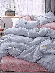 cheap -Duvet Cover Sets Solid Colored / Lines / Waves Silk / Cotton Blend Reactive Print / Embroidery / Printed 4 PieceBedding Sets