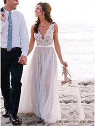 cheap -A-Line Wedding Dresses Jewel Neck Sweep / Brush Train Lace Tulle Regular Straps Beach Illusion Detail Backless with 2020