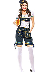 cheap -Oktoberfest Beer Outfits Dirndl Trachtenkleider Women's Blouse Dress Pants Bavarian Costume Ink Blue / Hat / Hat