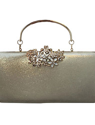 cheap -Women's Crystals PU Leather Evening Bag Wedding Bags Solid Color Black / Gold / Silver / Fall & Winter