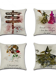 cheap -4 pcs Linen Pillow Cover, Special Design Anime Traditional Halloween Throw Pillow