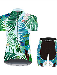 cheap -21Grams Floral Botanical Bird Hawaii Women's Short Sleeve Cycling Jersey with Shorts - Black / Green Bike Clothing Suit Breathable Quick Dry Moisture Wicking Sports 100% Polyester Mountain Bike MTB