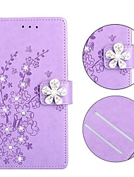 cheap -Case For Nokia Nokia Wallet / Shockproof / Rhinestone Full Body Cases Solid Colored / Flower PU Leather