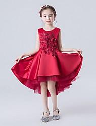 cheap -A-Line Asymmetrical Flower Girl Dress - Satin Sleeveless Jewel Neck with Appliques / Cascading Ruffles