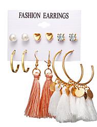 cheap -Women's Stud Earrings Drop Earrings Hoop Earrings Tassel Sweet Heart Heart Ball Bohemian Boho Elegant Gold Plated Earrings Jewelry Gold For Party Gift Daily Carnival Holiday 6 Pairs / Dangle Earrings