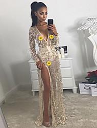 cheap -Diva Disco 1980s Dress Women's Sequins Costume Golden Vintage Cosplay Prom Long Sleeve Floor Length Sheath / Column