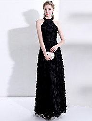 cheap -A-Line Elegant Prom Dress Halter Neck Sleeveless Floor Length Lace Polyester with 2020