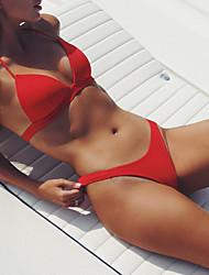 abordables -Femme Sportif Basique Blanche Bleu Rouge Licou Slip Brésilien Bikinis Maillots de Bain - Couleur Pleine Dos Nu Lacet S M L Blanche
