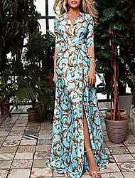 cheap -Women's 2020 Maxi Blue Dress Spring Vacation Swing Geometric V Neck Print S M